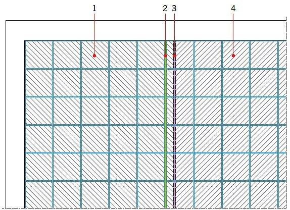 RYS. 14. Zmiana układu dylatacji strefowych podkładu i wykładziny, możliwa przy zastosowaniu maty kompensacyjnej układanej luźno na podłożu. Objaśnienia: 1 - pole ogrzewane 1, 2- dylatacja w wykładzinie, 3 - dylatacja w podkładzie, 4 - pole ogrzewane 2; rys.: J. Klimczak, Atlas