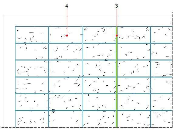 RYS. 16. Zastosowanie maty kompensacyjnej układanej luźno na podłożu pozwala na wykonanie wykładziny na podłożu, które może być wątpliwe pod względem przyczepności zaprawy klejącej. Podłoże po zerwaniu starej posadzki z PCV, linoleum, wykładziny dywanowej: przed (15) i po (16). Objaśnienia: 1 - nieprzyczepne podłoże, 2 - dylatacja w podkładzie, 3 - płytka, np. 120×60 cm, 4 - dylatacja w wykładzinie; rys.: J. Klimczak, Atlas