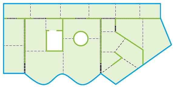 RYS. 9. Przykładowe zdylatowanie cementowego jastrychu pływającego w pomieszczeniach o nieregularnym kształcie; rys.: