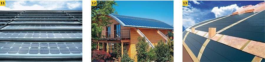 FOT. 11-13. Przykładowe panele fotowoltaiczne dachowe w postaci folii naklejane na blachodachówkę: przykład zastosowania elastycznych paneli PV, dachówki solarne zintegrowane z pokryciem bitumicznym; fot. archiwum autora