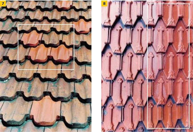 FOT. 7-8. Renowacja historycznych dachówek. Naprawa miejscowa w wyniku procesu starzeniowego; fot. archiwum autora