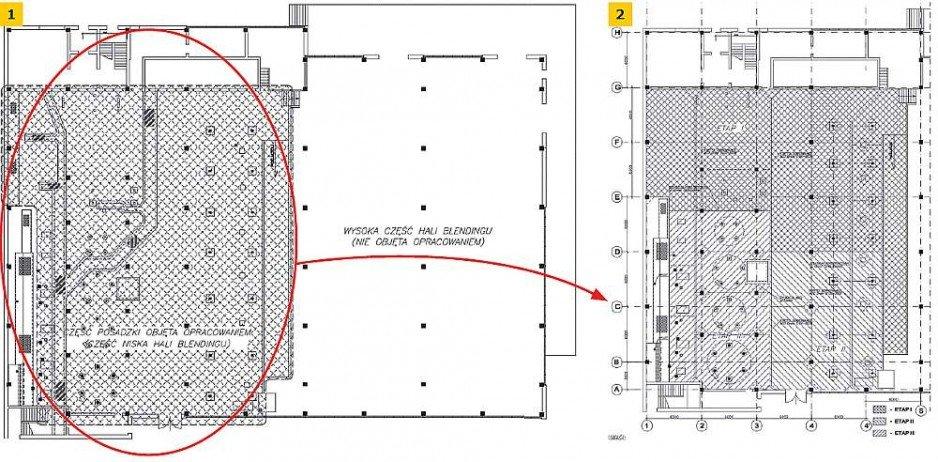 RYS. 1-2. Rzut hali z częścią posadzki przeznaczoną do naprawy: część produkcyjna z widocznymi fundamentami i kanałami przeznaczonymi do rozbiórki i część magazynowa nieobjęta opracowaniem; rys. archiwum autorów.
