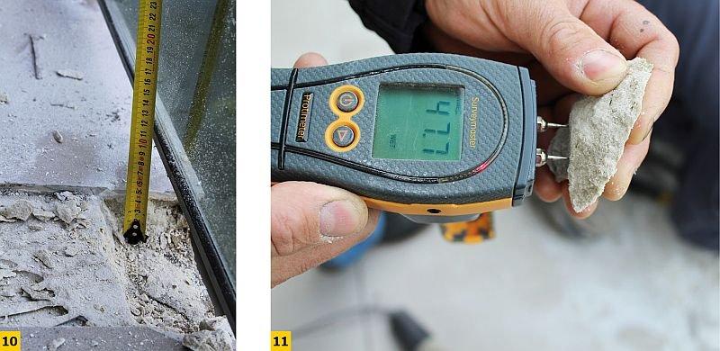 FOT. 10–11. Za gruba warstwa kleju pod płytką w strefie okapu. Izolacja zespolona była wykonana poprawnie, jednak grubość warstwy kleju wynosiła powyżej 2 cm. Wykonawca wykorzystał klej do płytek w celu uzyskania wymaganej równości posadzki. Rezultat: mokry klej i zawilgocenie strefy okapu skutkujące destrukcją tej strefy; fot.: M. Rokiel