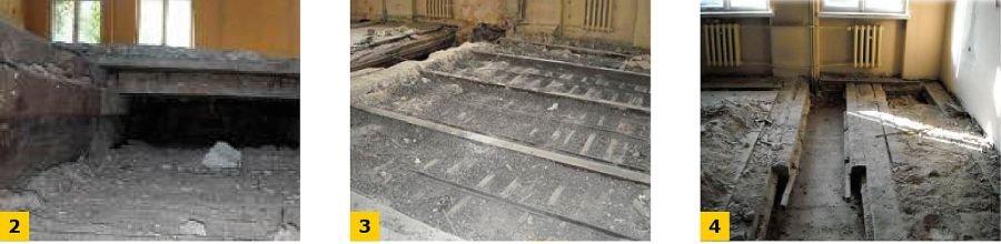 FOT. 2-4. Widok stropu nad I kondygnacją: układ konstrukcyjny pierwotny (2), wtórne elementy konstrukcyjne (3), elementy wzmacniane w trakcie dawnej przebudowy (4); fot. [7]