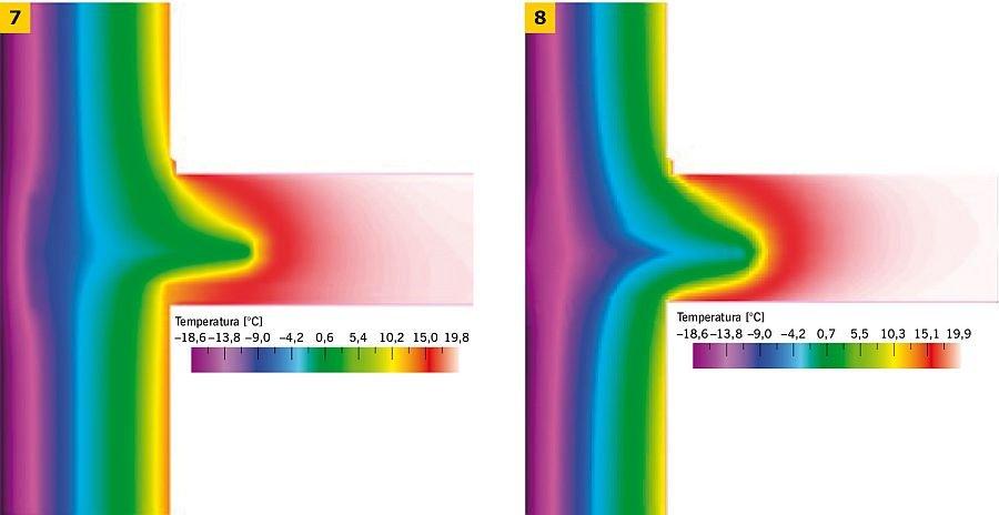RYS. 7-8. Przykładowy rozkład pól temperatur dla detalu obejmującego oparcie stropu drewnianego na murze ceglanym, z zamocowaniem belek kotwą stalową, mocowaną wewnątrz przegrody oraz wyprowadzoną na zewnętrzne lico ściany; rys.: [7]