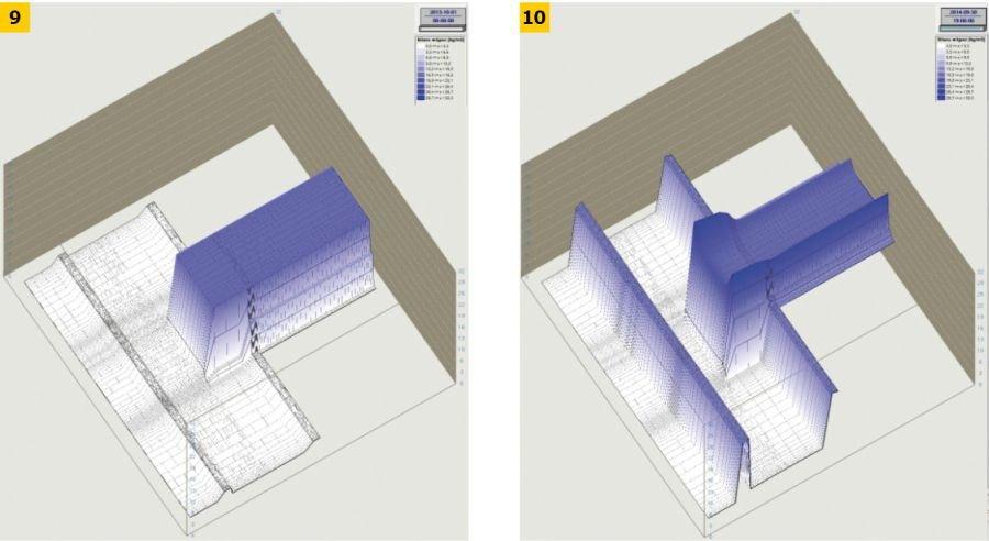 RYS. 9-10. Wyniki symulacji zmian wilgotności masowej w miejscu połączenia drewnianej belki stropu z ocieplonym od strony zewnętrznej murem ceglanym - stan początkowy oraz końcowy, po upływie 3 lat; rys.: [7]