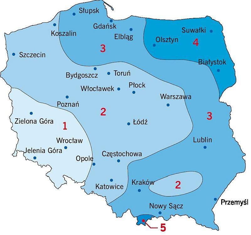 RYS. 4. Podział Polski na strefy obciążenia śniegiem wg normy [3]; rys.: D. Bajno