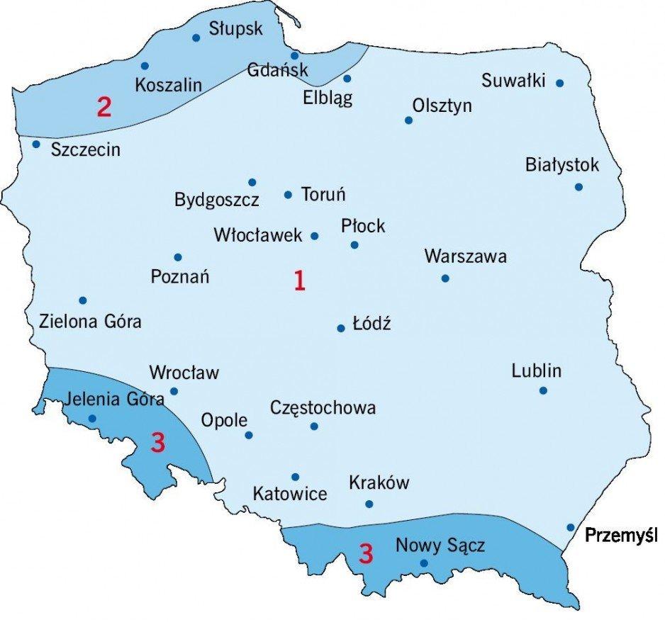 RYS. 5. Podział Polski na strefy obciążenia wiatrem [5]; rys.: D. Bajno