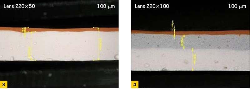FOT. 3-4. Przekroje (mikroskop optyczny) pobranych z konstrukcji płatków zabezpieczenia ogniochronnego (kolor pomarańczowy - powłoka nawierzchniowa, kolor biały - powłoka pęczniejąca ogniochronna, kolor szary - wypełniacz