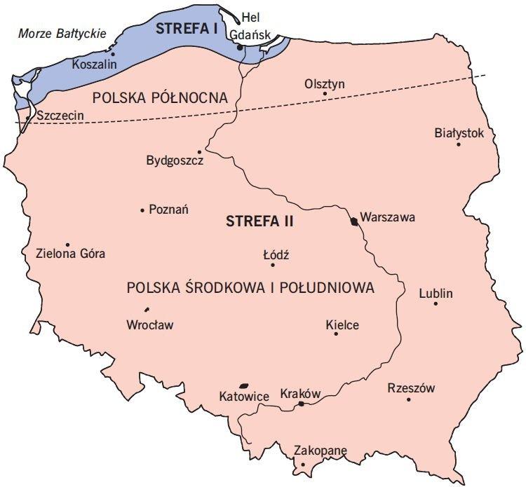 RYS. 8 Strefy klimatyczne w Polsce w okresie letnim; rys. [11]