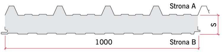 RYS. 6. Przykład przekroju panelu warstwowego dachowego z zewnętrzną okładziną trapezową; rys.: archiwum autora