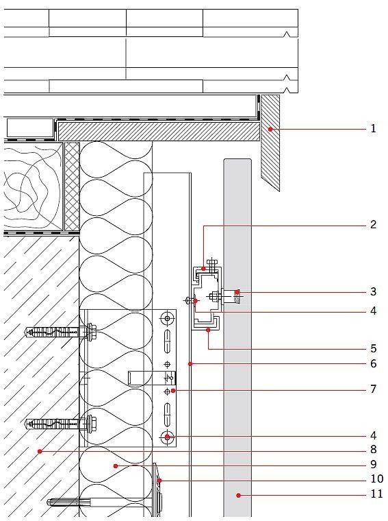 RYS. 11. Rozwiązanie detali projektowych ściany z okładziną z betonu architektonicznego: połączenie ściany z dachem płaskim; przekrój pionowy. Objaśnienia: 1 - konstrukcja dachu, 2 - klamra systemowa, 3 - łącznik mechaniczny, 4 - nit, 5 - profil systemowy, 6 - profil T, 7 - konsola systemowa, 8 - konstrukcja ścienna, 9 - wełna mineralna, 10 - łącznik mechaniczny do wełny mineralnej, 11 - okładzina betonowa; rys.: [19]