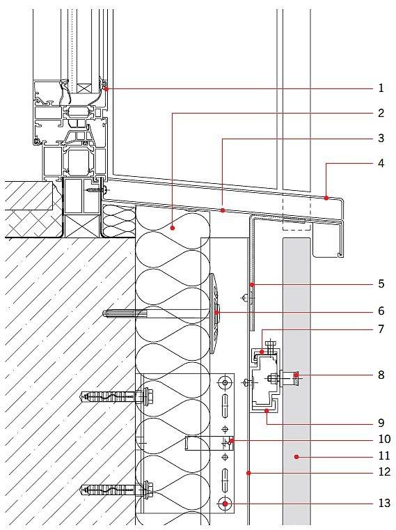 RYS. 12. Rozwiązanie detali projektowych ściany z okładziną z betonu architektonicznego: detal przy oknie; przekrój pionowy. Objaśnienia: 1 - okno, 2 - wełna mineralna, 3 - parapet okienny, 4 - profil zamykający, 5 - profil systemowy wentylujący, 6 - łącznik mechaniczny do wełny mineralnej, 7 - klamra systemowa, 8 - łącznik mechaniczny, 9 - profil systemowy, 10 - konsola systemowa, 11 - okładzina betonowa, 12 - profil T, 13 - nit; rys.: [19]