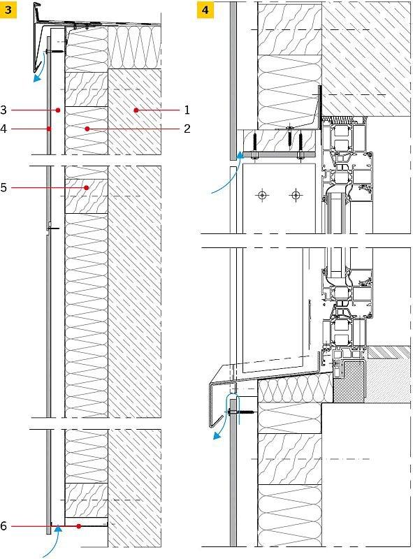 RYS. 3-4. Rozwiązanie detali projektowych ściany z okładziną HPL – przekroje pionowe: połączenie z dachem płaskim (3), detal przy oknie (4)