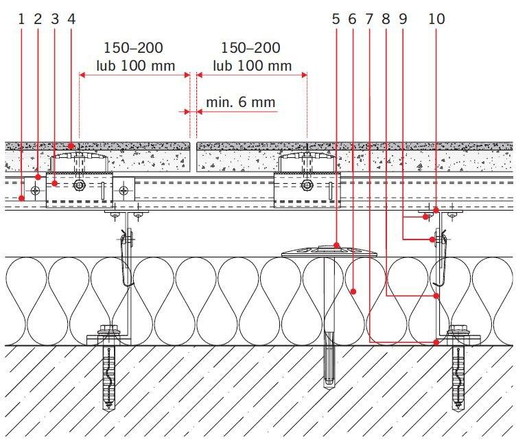 RYS. 7. Rozwiązanie detali projektowych ścian z okładziną z kamienia naturalnego: ściana zewnętrzna; przekrój poziomy. Objaśnienia: 1 - profil systemowy T, 2 - systemowy element zabezpieczający, 3 - systemowy element nastawny, 4 - kamień naturalny, 5 - łącznik izolacji termicznej, 6 - izolacja termiczna, 7 - podkładka termiczna konsoli, 8 - konsola systemowa, 9 - łącznik mechaniczny, 10 - profil systemowy T; rys.: [19]