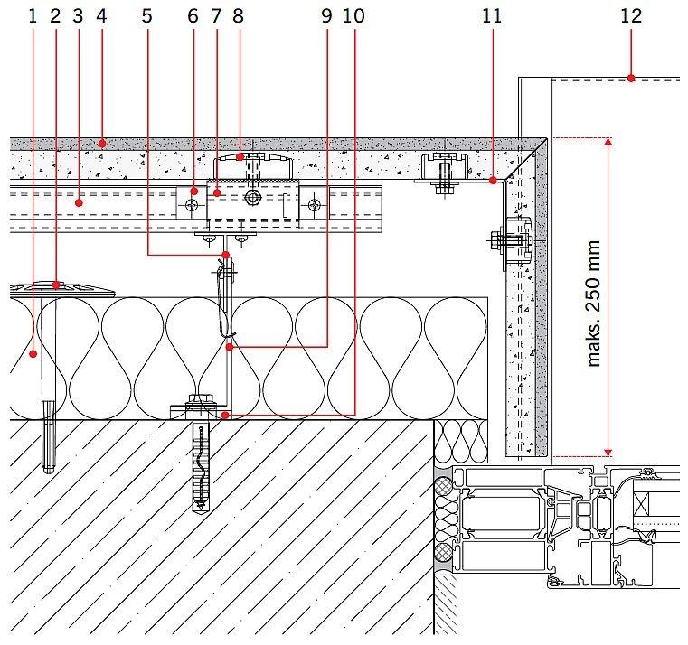 RYS. 8. Rozwiązanie detali projektowych ścian z okładziną z kamienia naturalnego: styk ściany z oknem; przekrój poziomy. Objaśnienia: 1 - izolacja termiczna, 2 - łącznik izolacji termicznej, 3 - profil systemowy T, 4 - kamień naturalny, 5 - teownik systemowy, 6 - systemowy element zabezpieczający, 7 - systemowy element nastawny, 8 - element ceramiczny, 9 - konsola systemowa, 10 - podkładka termiczna konsoli, 11 - profil narożny L, 12 - parapet; rys.: [19]