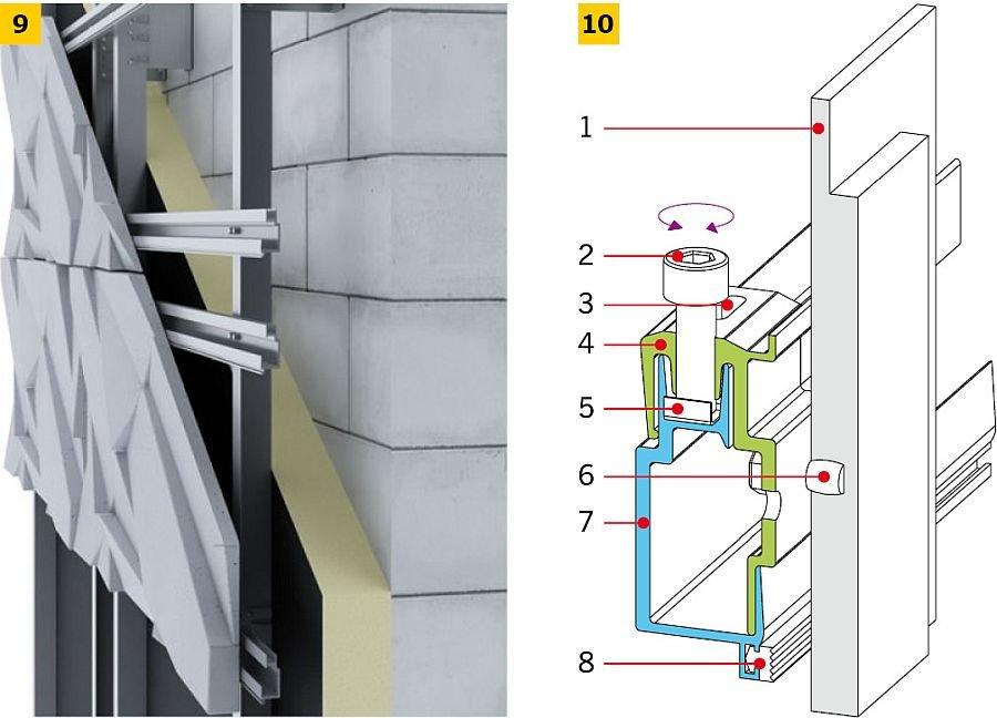 RYS. 9-10. Przykłady montażu przestrzennych płyt z betonu architektonicznego: widok (9), schemat (10). Objaśnienia: 1 - panel betonowy, 2 - śruba regulująca, 3 - otwór na wkręt blokujący, 4 - zawieszka, 5 - blaszka ślizgowa do śruby regulacyjnej, 6 - kołek montażowy niewidoczny, 7 - profil, 8 - gumka; rys.: [20]