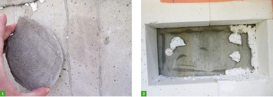 FOT. 1-2. Ściana  żelbetowa, powierzchnia bardzo gładka od deskowania, brak powierzchniowego oczyszczenia z pyłów oraz mleczka cementowego i ewentualnego zagruntowania np. preparatem poprawiającym przyczepność klejów; fot.: Paweł Gaciek