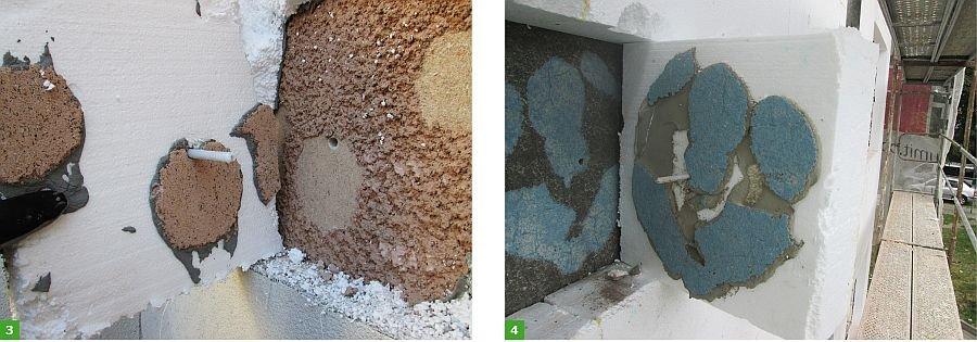 FOT. 3-4. Ściany budynków istniejących, przykłady braku właściwej oceny podłoża oraz braku skuteczności zamocowania łączników mechanicznych; fot.: Paweł Gaciek