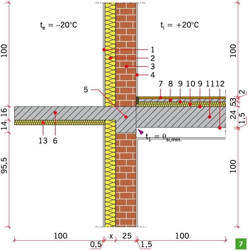 RYS. 7. Połączenie ściany zewnętrznej dwuwarstwowej z płytą balkonową