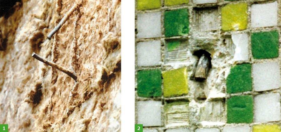 FOT. 1-2. Przykłady pęknięcia wieszaków stalowych warstwy fakturowej ścian zewnętrznych; fot.: [1]