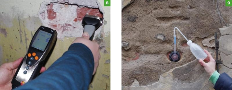 FOT. 8-9. Pomiar wilgotności cegieł i chłonności powierzchniowej; fot. archiwa autorów