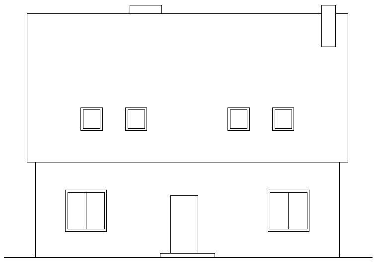 RYS. 1. Rysunek schematyczny analizowanego budynku mieszkalnego: elewacja frontowa; rys.: autorzy