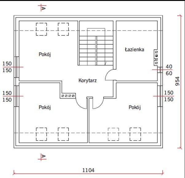 RYS. 4. Rysunek schematyczny analizowanego budynku mieszkalnego: rzut poddasza użytkowego; rys.: autorzy