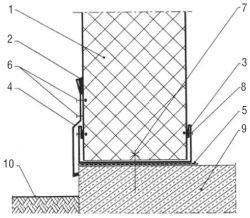 Rys. 1. Sposób łączenia ściennej płyty warstwowej z posadzką w małych obiektach: 1 – płyta ścienna, 2 – kit silikonowy, 3 – obróbka blacharska, 4 – obróbka blacharska, 5 – izolacja przeciwwilgociowa, 6 – nit jednostronny szczelny lub blachowkręt samowiertny z podkładką neoprenową – co 300 mm, 7 – kołek kotwiący do betonu, 8 – nit jednostronny lub blachowkręt samowiertny – co 300 mm, 9 – posadzka, 10 – poziom gruntu