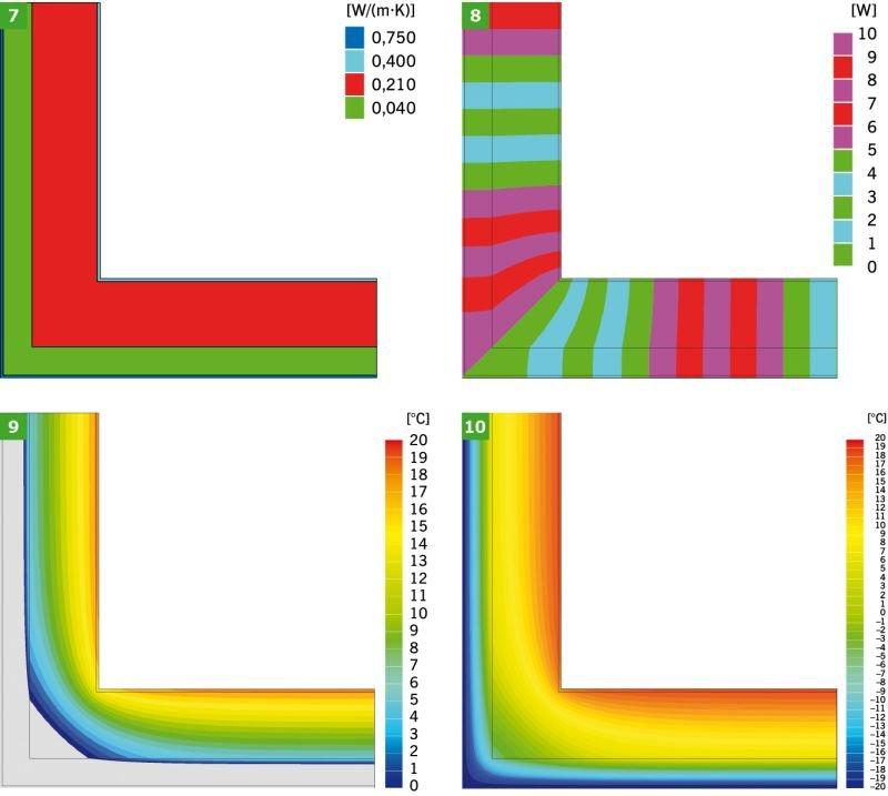 RYS. 7–10. Przykładowe wyniki graficzne symulacji komputerowej narożnika ścian zewnętrznych: model obliczeniowy (7), linie strumieni cieplnych (adiabaty) (8) i izotermy: 0°C–20°C (9) oraz –20°C–+20°C (10); rys.: K.; Pawłowski