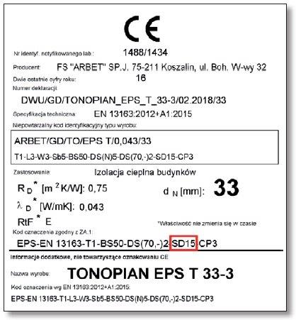 RYS. 3. Na etykiecie dla wyrobu Tonopian EPS T 33-3 wyróżniono deklarowaną sztywność dynamiczną SD15, która określa poziom końcowej redukcji dźwięków uderzeniowych, podanej w karcie technicznej wyrobu.