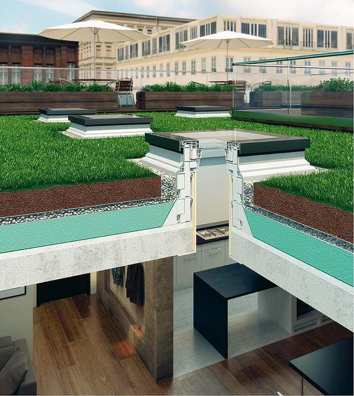RYS. 11 Naświetla dachowe zamontowane w dachu zielonym; rys. FAKRO