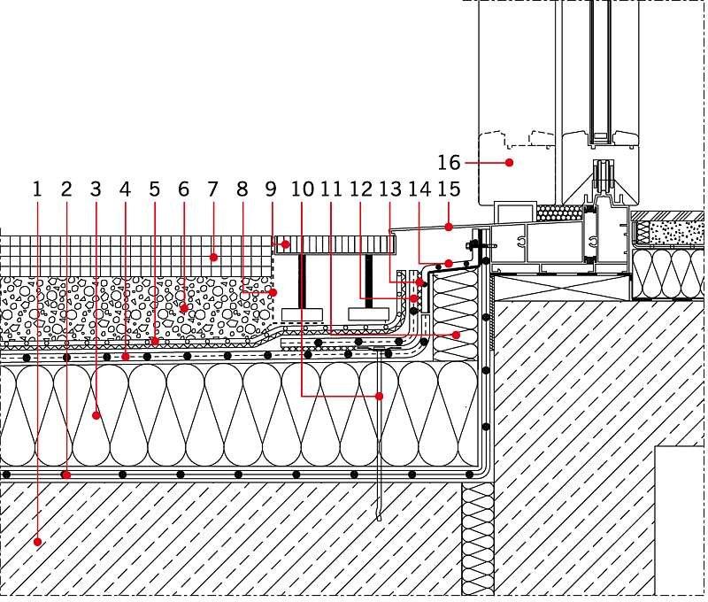 RYS. 8 Detal przejścia bezbarierowego do wnętrza obiektu. Wymaga to jednak zastosowania specjalnego profilu drzwiowego z dodatkowym uszczelnieniem, np. magnetycznym, uniemożliwiającym wnikanie wody do wnętrza przez styk skrzydła z ościeżnicą