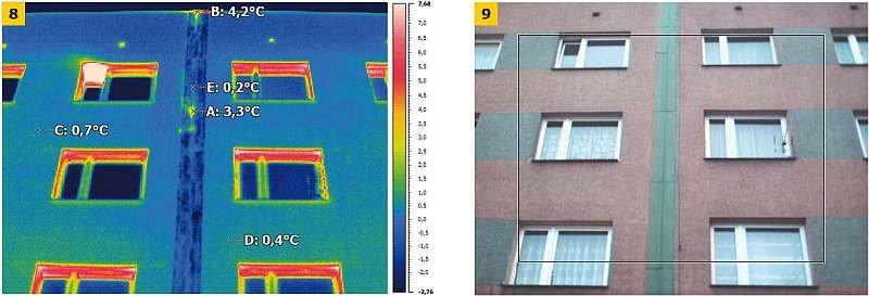 FOT. 8 (po lewej): Termogram ściany budynku wielkopłytowego w obrębie dylatacji, FOT. 9 (po prawej): widok tej ściany; fot. archiwa autorów