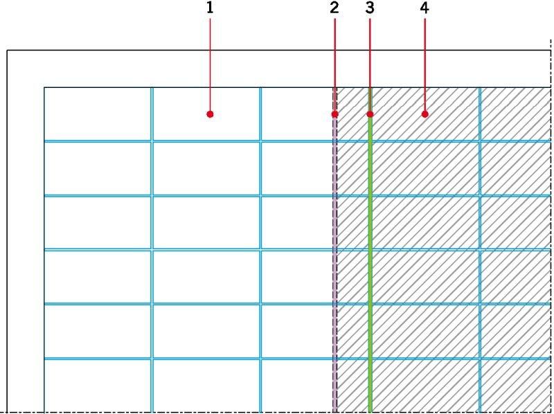 RYS. 10. Zmiana układu dylatacji strefowych podkładu i wykładziny możliwa przy zastosowaniu maty kompensacyjnej układanej luźno na podłożu. Oznaczenia: 1 - pole nieogrzewane 1, 2 - dylatacja w podkładzie, 3 - dylatacja w wykładzinie, 4 - pole ogrzewane; rys.: J. Klimczak, Atlas
