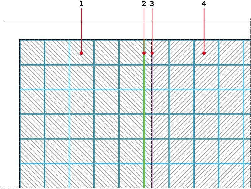 RYS. 11. Zmiana układu dylatacji strefowych podkładu i wykładziny możliwa przy zastosowaniu maty kompensacyjnej układanej luźno na podłożu. Oznaczenia: 1 - pole ogrzewane 1, 2 - dylatacja w wykładzinie, 3 - dylatacja w podkładzie, 4 - pole ogrzewane 2; rys.: J. Klimczak, Atlas