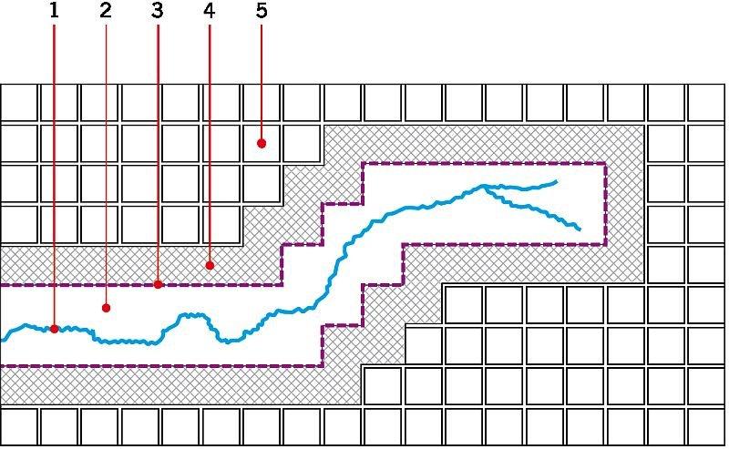 RYS. 7. Przykład rozmieszczenia dylatacji wykładziny przy zastosowaniu maty kompensacyjnej mostkującej. Oznaczenia: 1 - rysa, 2 - mata kompensacyjna w postaci włókniny typu Crack Isolation Membranes, 3 - planowany przebieg spoiny elastycznej w wykłądzinie ceramicznej, 4 - zaprawa klejowa, 5 - płytka ceramiczna; rys.: I. Gawęda