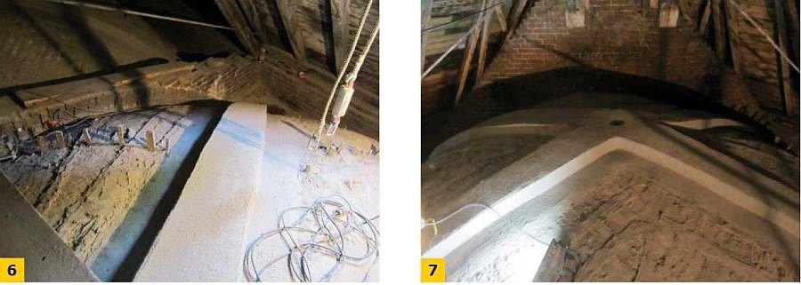FOT. 6-7. Naprawa żeber i łęku sklepień krzyżowych systemem FRCM: wzmocnione żebra; fot.: archiwum autora