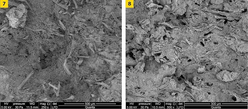 FOT. 7-8. Obrazy uzyskane przy użyciu elektronowego mikroskopu skaningowego dla płyty PA: powiększenie ×250 (7), powiększenie ×500 (8); fot. archiwa autorów