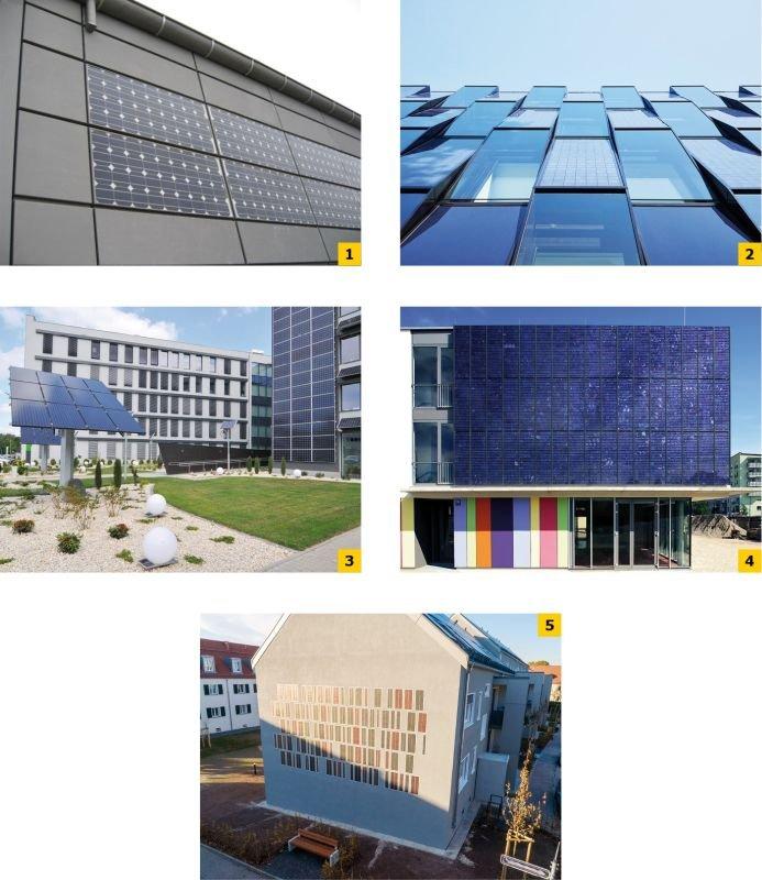 FOT. 1-5. Zróżnicowane rozwiązania ogniw PV na elewacjach budynków; fot.: [2-6]