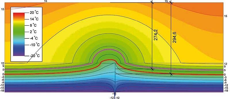 RYS. 4. Rozkład izoterm ściany z konsolą zimną aluminiową [λ = 200 W/(m·K)]; rys.: [7]