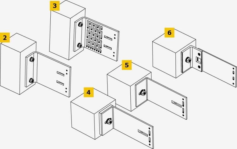 RYS. 2-6. Przykłady rozwiązań konsol stosowanych do mocowania fasad wentylowanych: konsola nośna z aluminium lub ze stali nierdzewnej (2), konsola nośna z perforowanej stali nierdzewnej (3), aluminiowa konsola stabilizująca z podkładką termiczną (4), stabilizująca konsola z aluminium (5), stabilizująca konsola termiczna z kątownika z tworzywa sztucznego z płaskownikiem dystansowym z aluminium (6); rys. autor