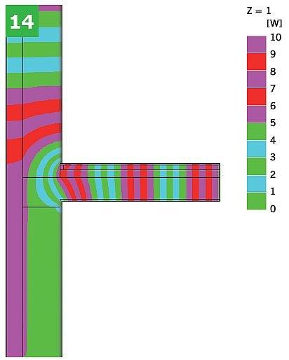 RYS. 14. Przykładowe graficzne przedstawienie wyników symulacji komputerowej dla połączeniazewnętrznej ściany dwuwarstwowej ze stropem w przekroju przez wieniec z warstwami podłogipływającej nad przejazdami (bez dodatkowej warstwy izolacji): linie strumienicieplnych (adiabaty) (14); rys.: [10]