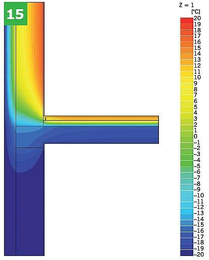 RYS. 15. Przykładowe graficzne przedstawienie wyników symulacji komputerowej dla połączeniazewnętrznej ściany dwuwarstwowej ze stropem w przekroju przez wieniec z warstwami podłogipływającej nad przejazdami (bez dodatkowej warstwy izolacji): rozkład temperatur (izotermy) (15); rys.: [10]