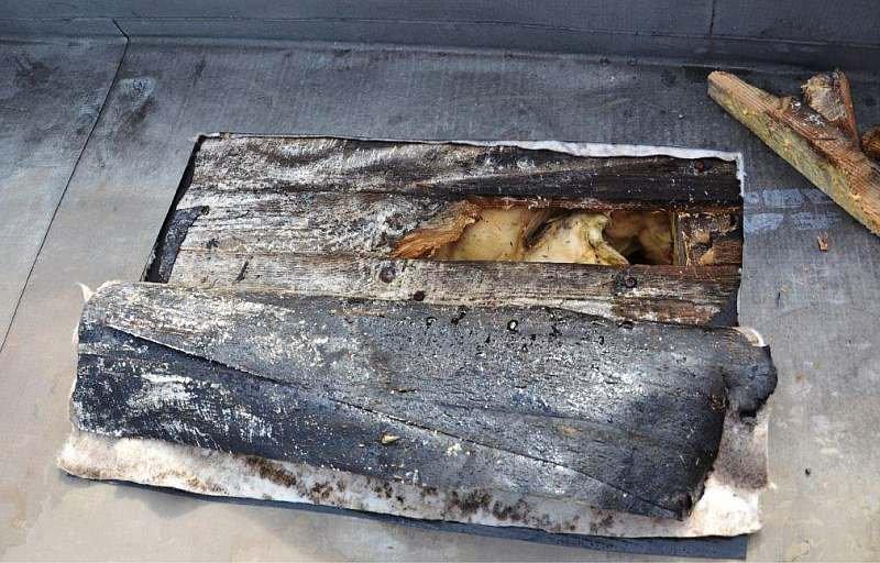 FOT. 2. Odkrywka kontrolna nr 1 - zawilgocenie papy i deskowania oraz izolacji termicznej; fot. archiwa autorów