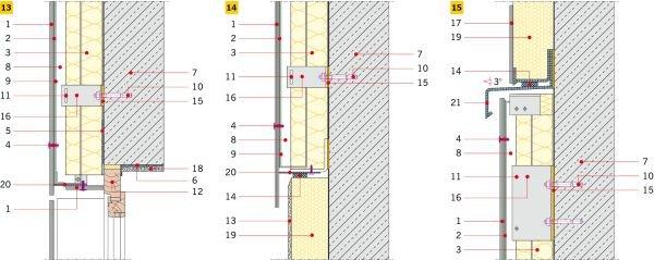 RYS. 13-15. Detale wykonania elewacji wentylowanej na ruszcie z aluminium: ościeże okienne (13), połączenie elewacji z cokołem (14), połączenie z elewacją ETICS (15); rys. archiwum autora