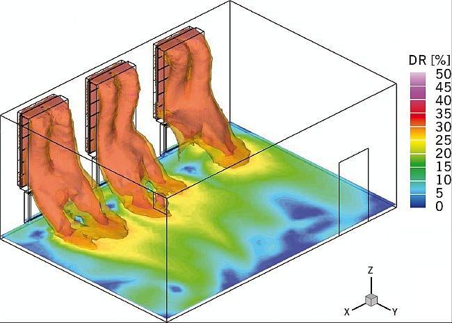 Analiza ryzyka nadmiernej infiltracji powietrza przez nawiewy okienne na wysokości 10 cm powyżej poziomu podłogi; rys.: [6]