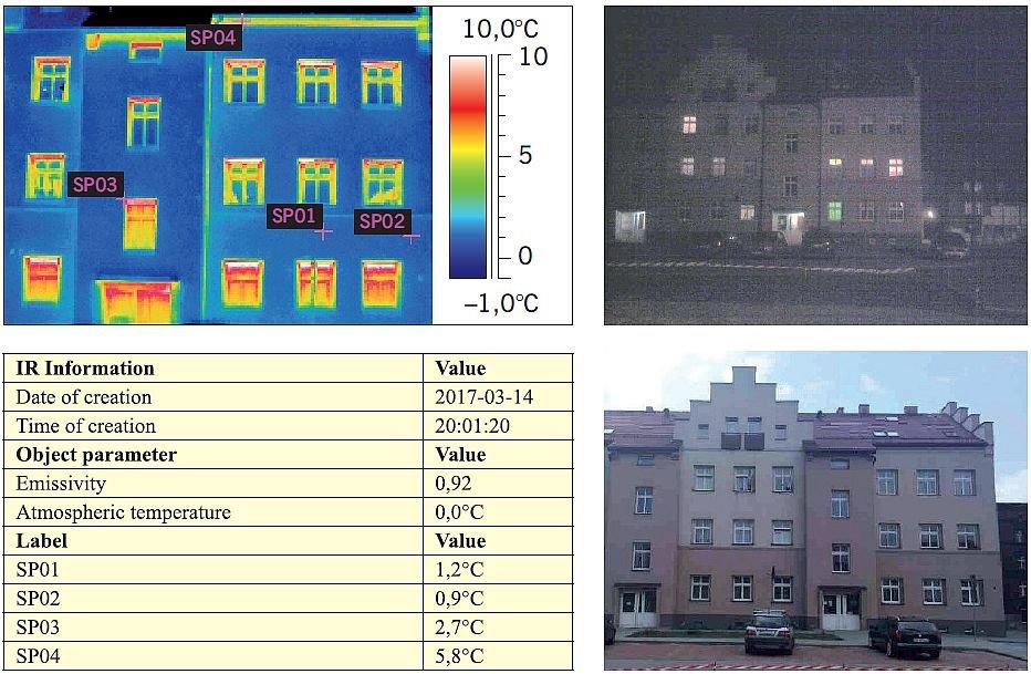 RYS. 1. Fragment sprawozdania z badań termowizyjnych wykonywanych od strony zewnętrznej budynku mieszkalnego po przeprowadzonej termomodernizacji; rys. archiwa autorów
