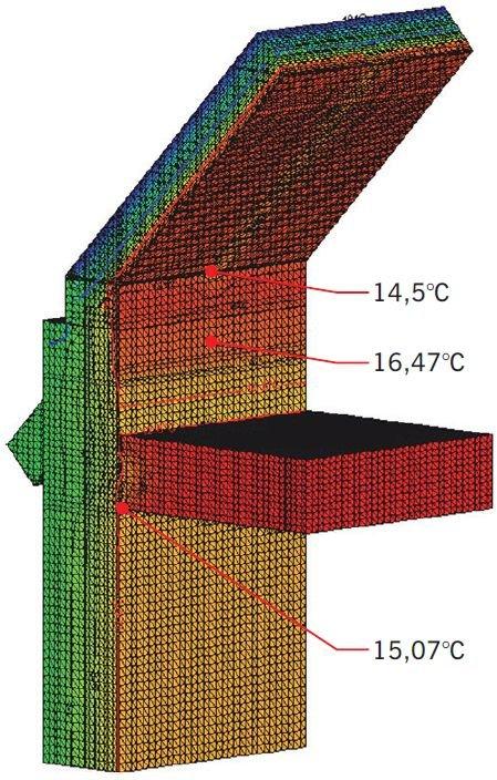 RYS. 10. Przykładowe odwzorowanie spodziewanego pola temperatury w programie numerycznym (analiza trójwymiarowa) na podstawie projektu architektonicznego; rys. archiwa autorów