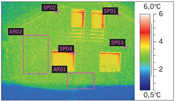 RYS. 4. Fragment ściany zewnętrznej o dużej jednorodności cieplnej. Brak widocznych różnic temperatury pomiędzy poszczególnymi elementami przegrody; rys. archiwa autorów